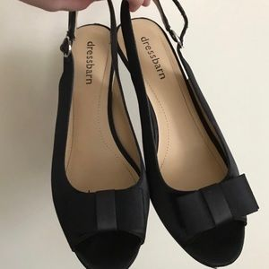 Black Satin Heels with Bows